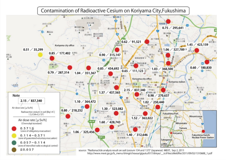 koriyama radiation map