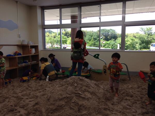 Fukushima children play in indoor sandbox in the town of Motomiya Fukushima